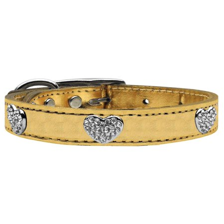Crystal Heart Genuine Metallic Leather Dog Collar Gold 10