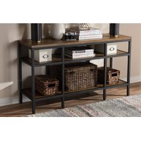 85c7fd59948b Product Image Baxton Studio Caribou Industrial Oak Wood and Black Metal  Finished Console Table