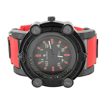 Black Red Mens Watch Lab Created Cubic Zirconia Jojo Jojino Style Ice King Analog Rubber Band