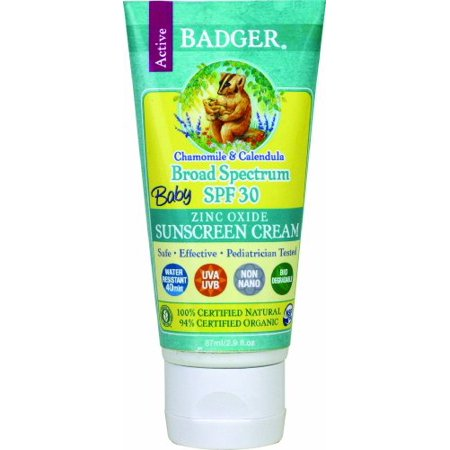 2 Pack Badger Organic Baby Sunscreen Cream SPF 30 Chamomile and Calendula