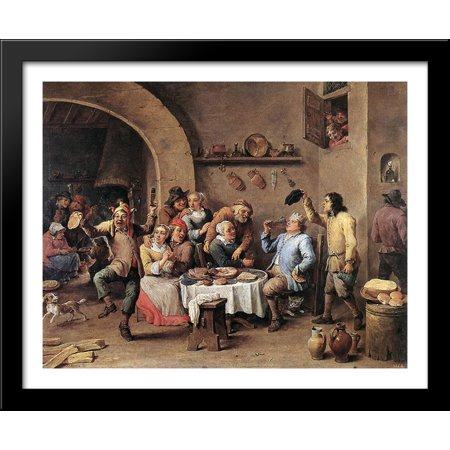 Carnival 'The King Drinks' 34x28 Large Black Wood Framed Print Art by David Teniers the Younger](Carnival Drinks)
