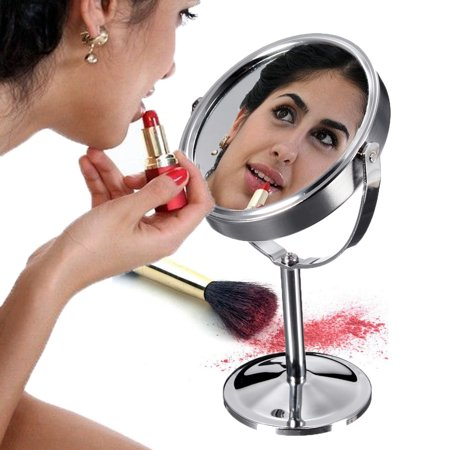Round/Heart Shape/Oval Desktop Stand Normal Magnifying Vanity Mirror Beauty Makeup Cosmetic Double-Sided Makeup Beauty Gifts ()