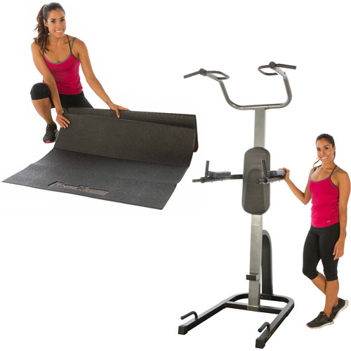 Fitness Reality PT1275 High Weight Limit Strength Training Power Tower with BONUS Exercise Equipment Mat Value Bundle