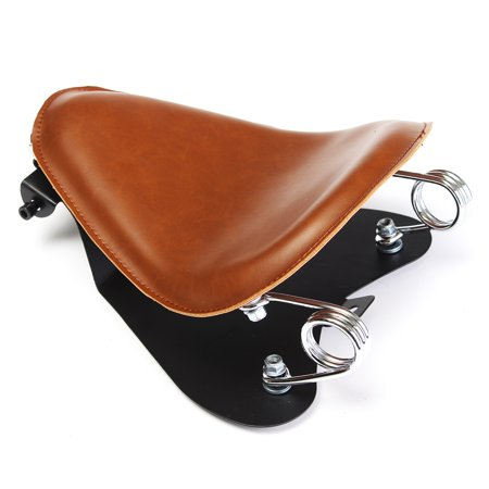 Brown Leather SOLO Seat Pan Frame Cover Barrel Spring For Bobber Custom