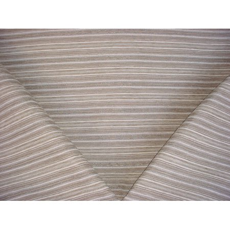 - 43H6 - Antique White / Pewter / Metallic Silver Textured Stripe Chenille Designer Upholstery Drapery Fabric - By the Yard