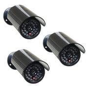 VideoSecu 3 Pack Fake Dummy IR LED Light Bullet Security Camera with Blinking Flashing Light Imitation Simulated c4w