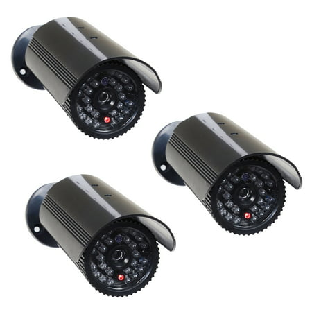 Videosecu 3 Pack Fake Dummy Ir Led Light Bullet Security Camera With Blinking Flashing Light Imitation Simulated C4w