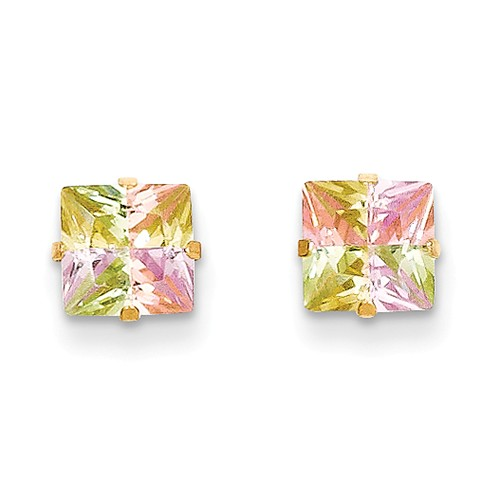 14k Yellow Gold Childs Multi-color CZ 6mm Square Post Earrings w/ Gift Box.