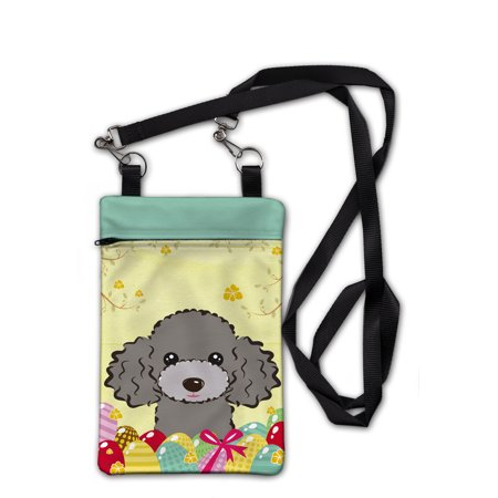 Silver Gray Poodle Easter Egg Hunt Crossbody Bag Purse BB1941OBDY](Poodle Purses)