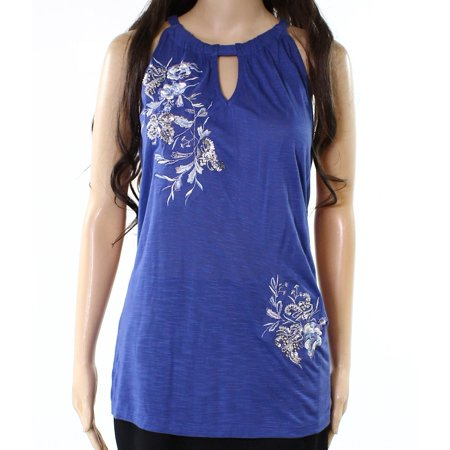 INC NEW Blue Womens Size Large L Embroidered Sequined Keyhole Halter Top (Side Halter Top)