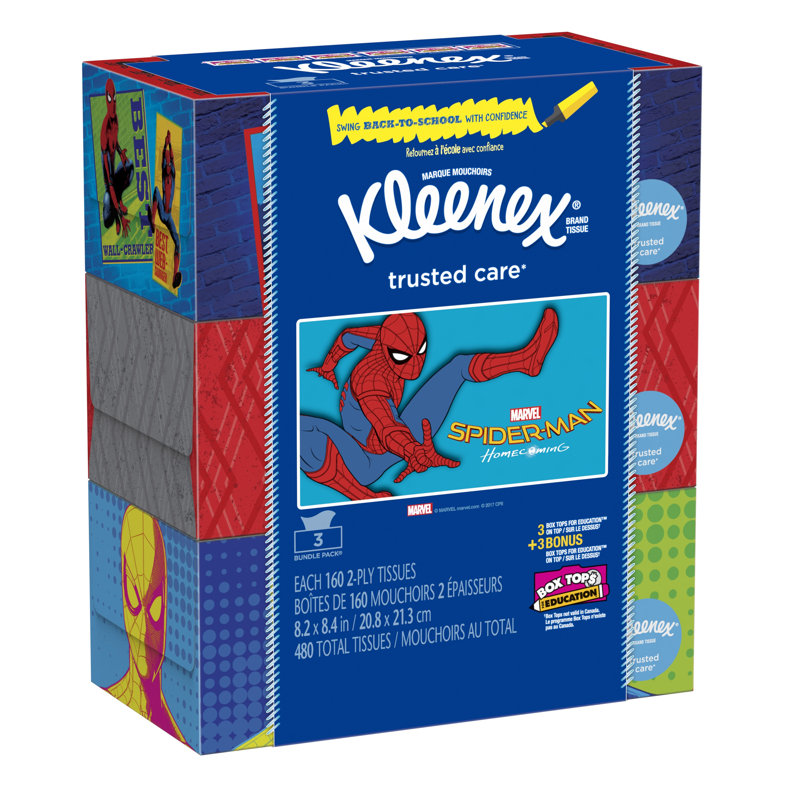Kleenex Everyday Facial Tissues, 160 Sheets/Box, 3 Ct
