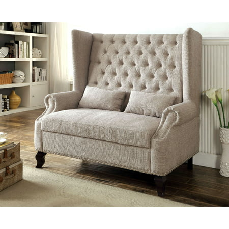 Furniture Of America Alcacer Mid Century Love Seat Bench Beige Fabric Upholstery ()
