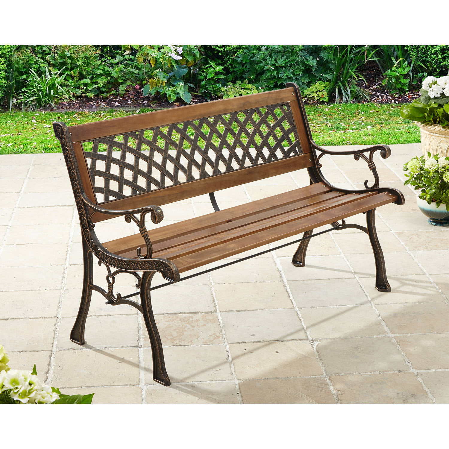 Better Homes and Gardens Lattice Bench, Antique Bronze Natural by