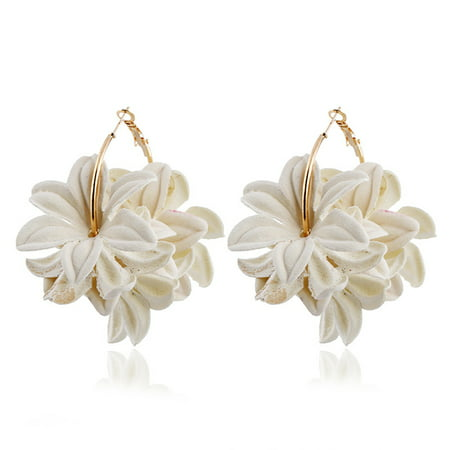 Elegant Womens Earring (1pair Women Fashion Elegant 3D Flower Design Earring All-match Delicate Ear)