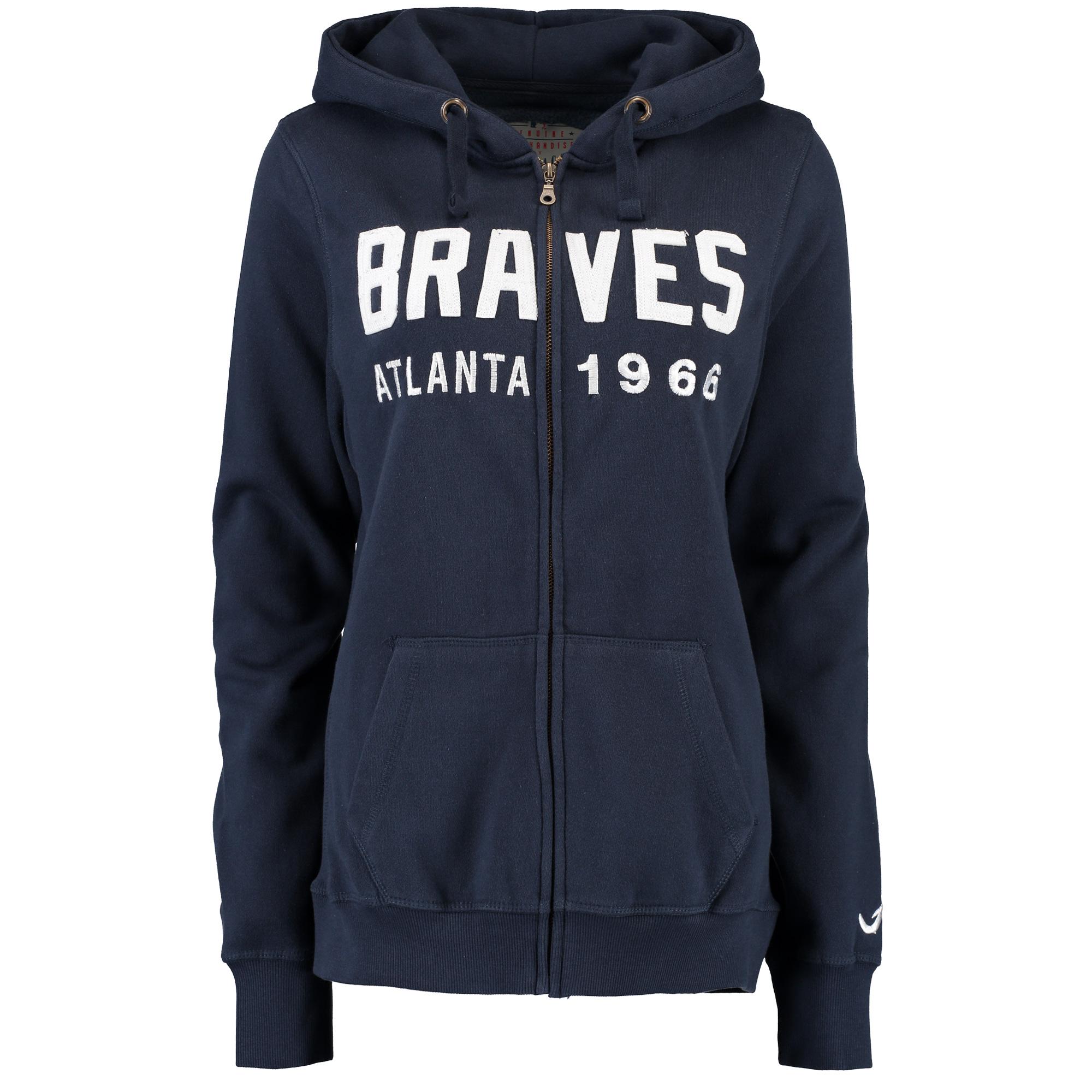 Atlanta Braves Soft as a Grape Women's Full-Zip Hoodie - Navy