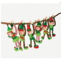 12 Deluxe Plush Hanging Christmas Elves - Tree Decorations - Holiday Stocking Stuffers Party Favors
