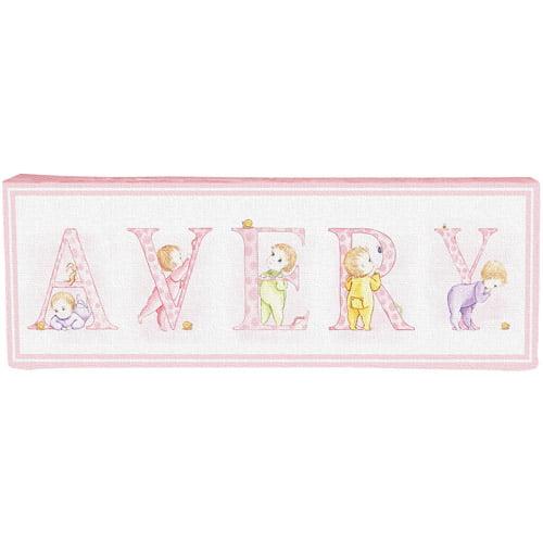 Personalized Vintage Infant Alphabet 5-Letter Name Canvas, Pink