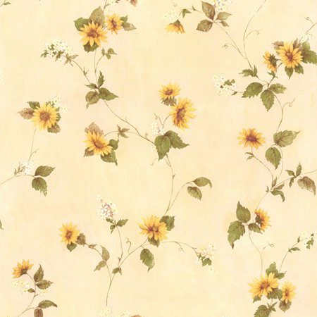 Brewster August Yellow Floral Trail Wallpaper