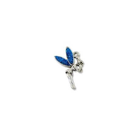 Charm for Jewelry Making - Fairy Blue 11x21mm Pewter Antique Silver Plated (1-Pc)