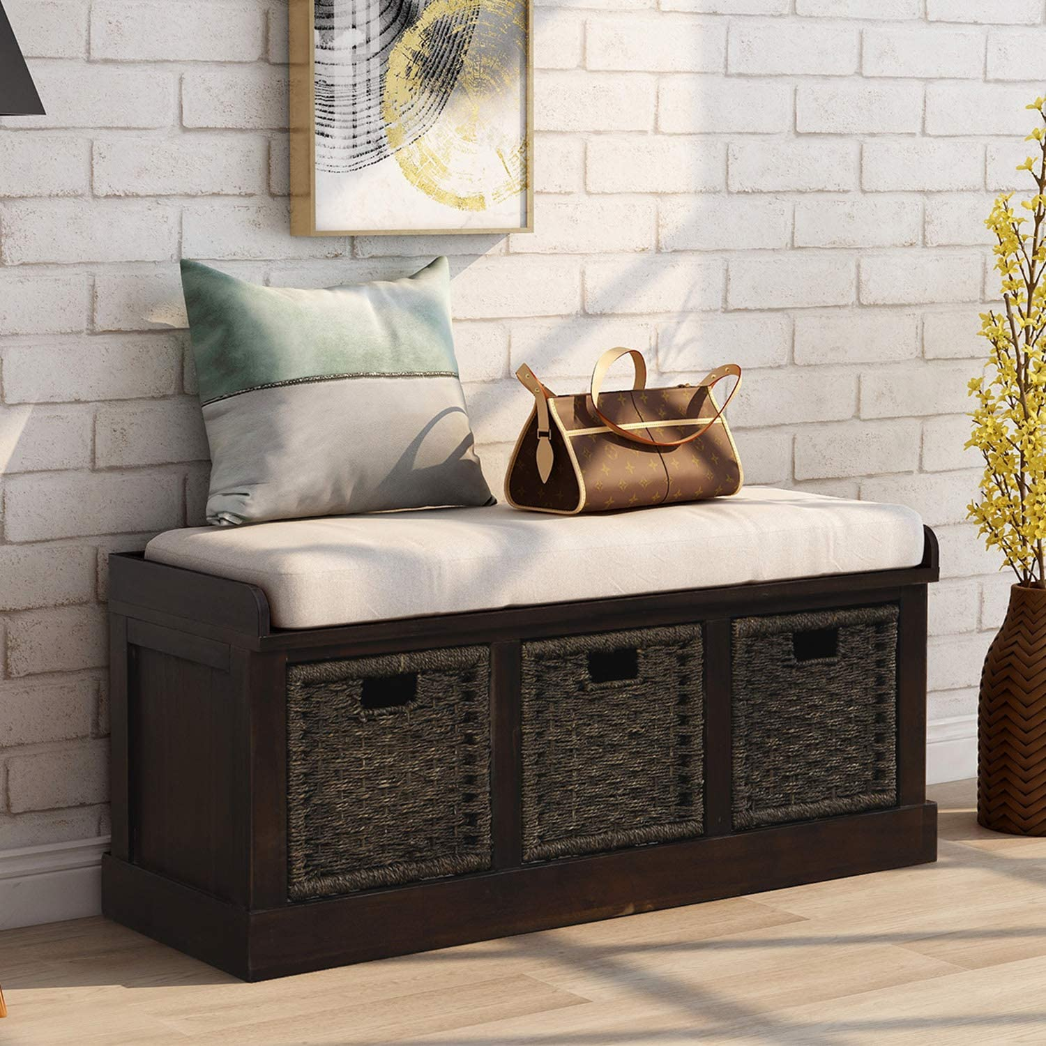 Entryway Storage Bench Rustic, Storage Seats For Living Room