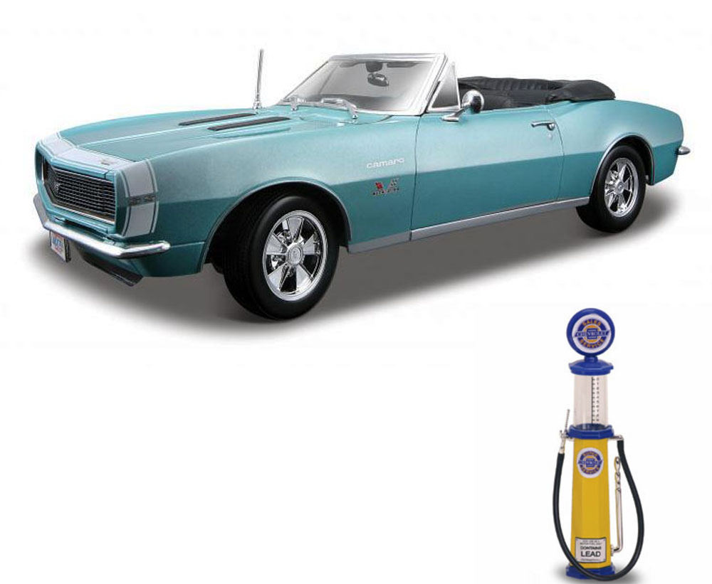 Chevy Diecast Car & Gas Pump Package 1967 Chevy Camaro SS 396 Convertible, Turquoise... by Maisto