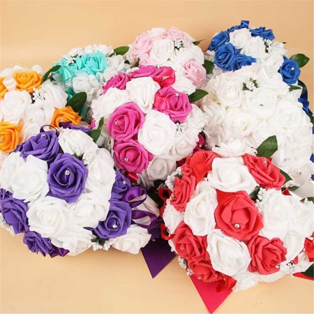 Wedding Water Drop Flowers Rose Bouquet Bride Bridesmaid Artificial Flower Decor