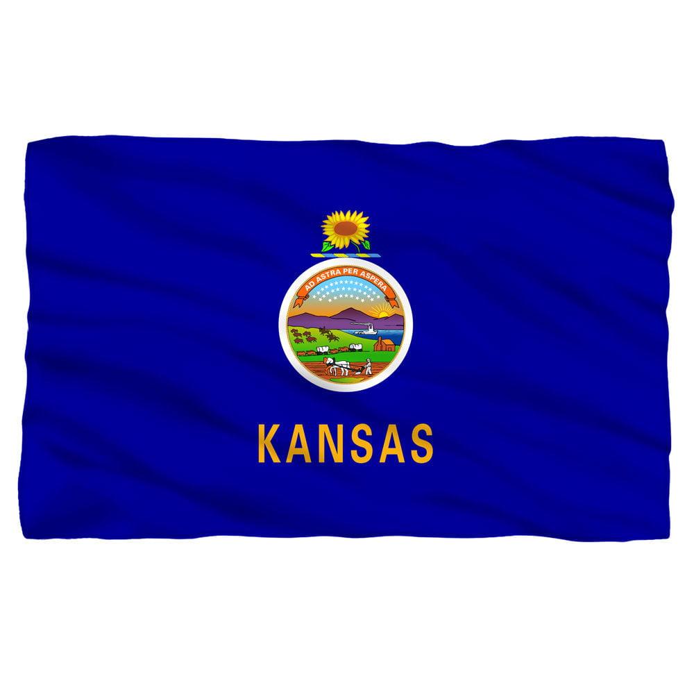 Kansas Flag Fleece Blanket
