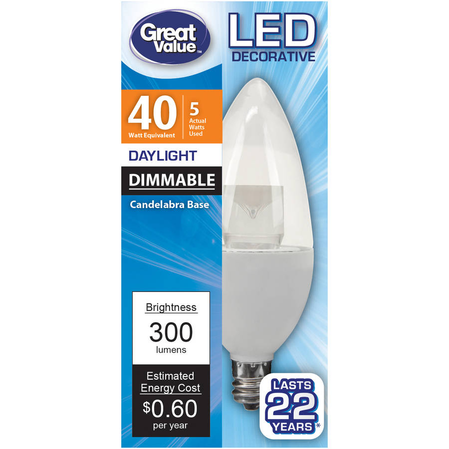 Great Value LED Light Bulb 5W (40W Equivalent) Deco (E12) Dimmable, Daylight