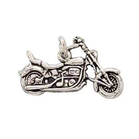 "Sterling Silver 30"" 1.2mm Box Chain Touring Chopper Motorcycle Pendant Necklace Back Seat"
