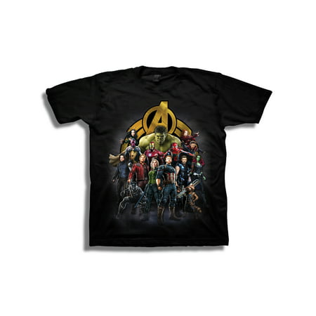 Avengers Infinity War Boys' Superhero Group Shot with Logo Short Sleeve Graphic T-Shirt for $<!---->