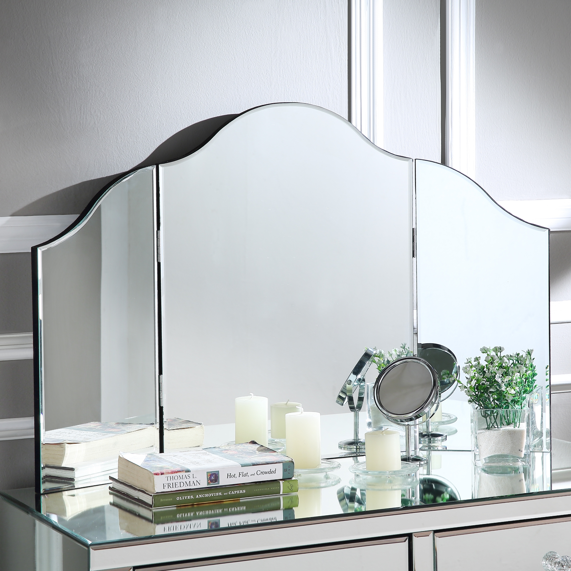 Berino Frameless Tri-fold Tabletop Vanity Mirror, No Color by Inspired Home