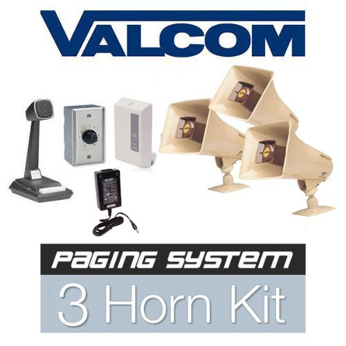 Valcom 3 Horn Speaker Paging Mass Notification and Emergency Commercial Grade PA System Kit