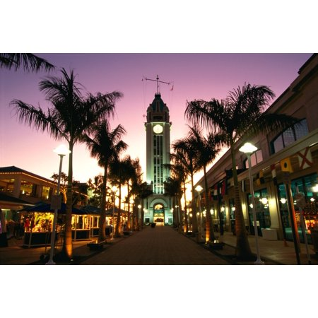 Hawaii Oahu View Of Aloha Tower Marketplace At Dusk Pink Sky Canvas Art - Chris Abraham  Design Pics (19 x 12) (Oahu Marketplace)