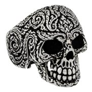 Hellfire Jewelry Sterling Silver Mandala Floral Skull Ring