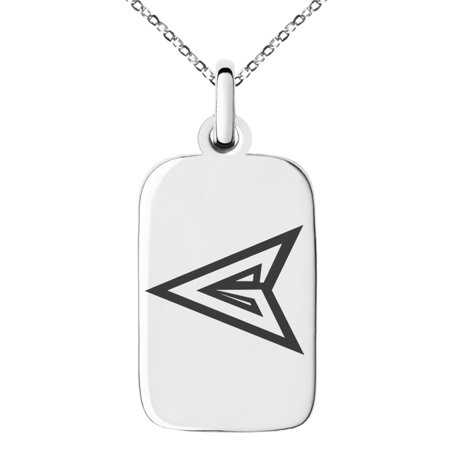 Stainless Steel DC Green Arrow Logo Engraved Small Rectangle Dog Tag Charm Pendant Necklace