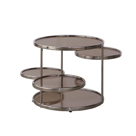 Coaster Round Glass Top Coffee Table In Black Nickel