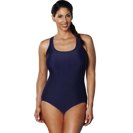 dd1aba64d3 swimsuitsforall Aquabelle Xtra Life Lycra Navy Crossback Swimsuit -  Walmart.com