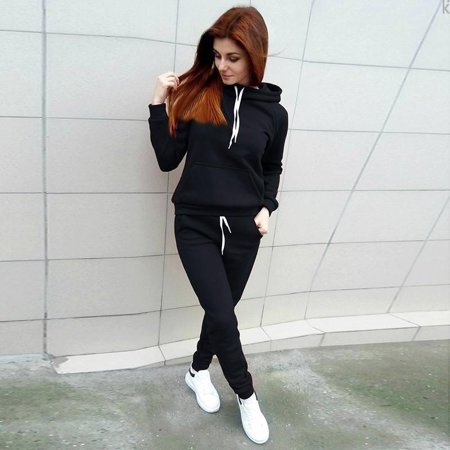 Novelty Fashion Two Piece Set Women Tracksuits Long Sleeve Tracksuits Casual Hoodies + Long Pants Sleeve Hoodie Tracksuit
