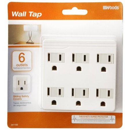 Coleman Cable 6 Outlets Front Entry Wall Adaptor