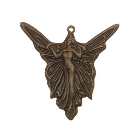 Vintaj Natural Brass Lovely Art Deco Angel Pendant 30mm (Art Deco Brass)