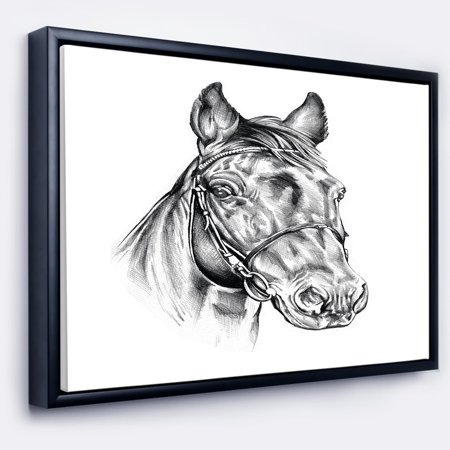 - DESIGN ART Designart 'Freehand Horse Head Pencil Drawing' Animal Framed Canvas Art Print