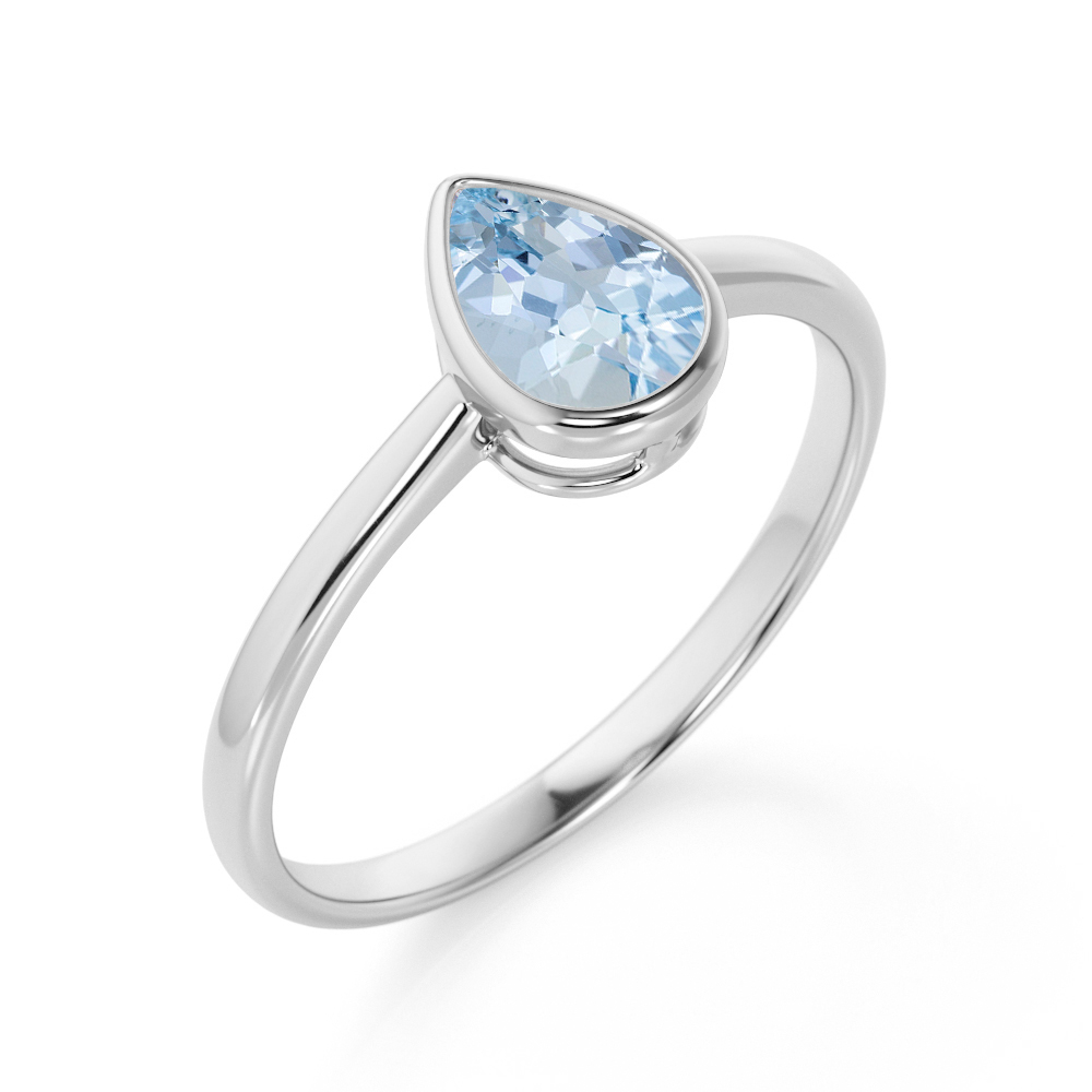 Sapphire ring pear cut engagement sterling silver September birthstone ring for women blue stone ring