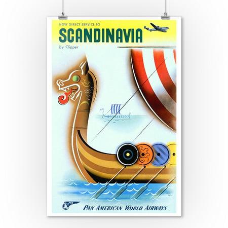 Pan American World Airways - Scandinavia Vintage Poster (artist: Carlu)  c. 1950 (9x12 Art Print, Wall Decor Travel Poster) (1950 Decor)