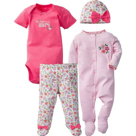 Newborn Baby Girl Sleep N' Play, Onesies Bodysuit, Pant & Cap, 4pc Set - Halloween Onesies For Kids