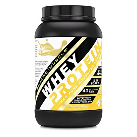 Amazing Muscle Whey Protein Ultra Concentrate & Isolate Blend 2 lbs Delicious Banana Flavor * Supports Lean Muscle Growth & Rapid Recovery