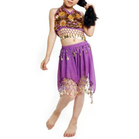 BellyLady Kid Egyptian Belly Dance Costume, Skirt & Halter Top Sets, Purple - Belly Dance Costume