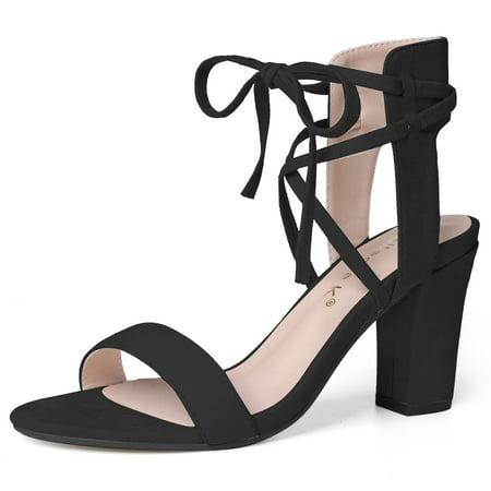 Unique Bargains Women's Ankle Tie Open Toe High Chunky Heel Sandals by Unique Bargains