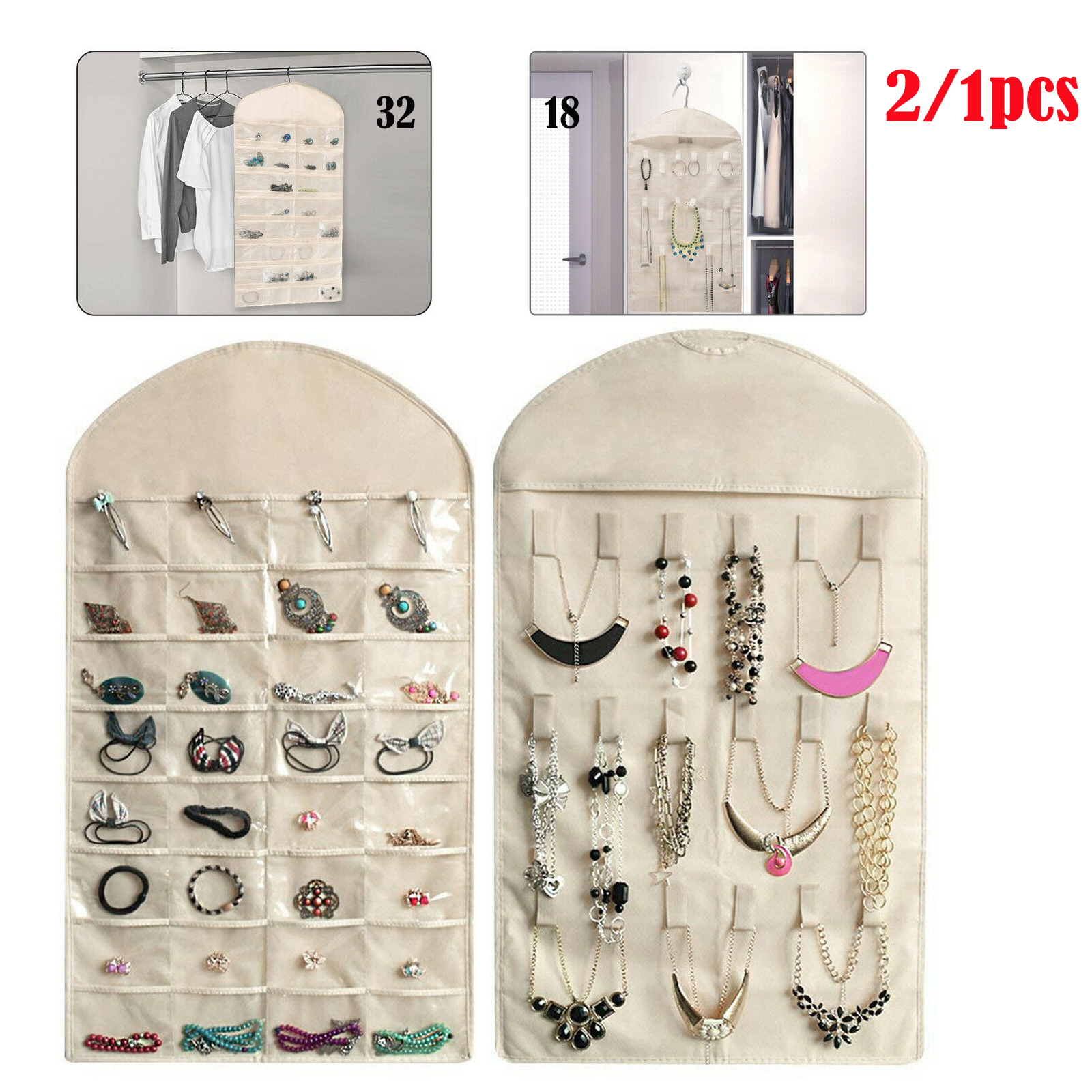 EEEkit - 2/1Pcs Closet Hanging Jewelry Organizer Necklace ...