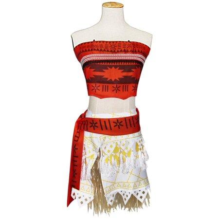 KINOMOTO Moana Princess Dress Up Girls Adventure Outfit Polynesian Cosplay Costume(L)