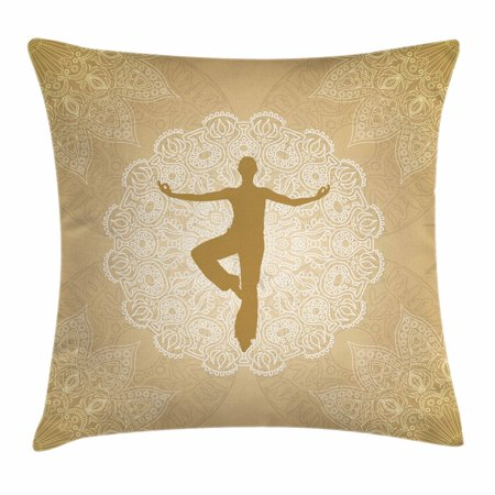 Yoga Throw Pillow Cushion Cover  Authentic Mandala Inspired Composition Man Posture Asana Meditation India  Decorative Square Accent Pillow Case  24 X 24 Inches  Sand Brown Gold White  By Ambesonne
